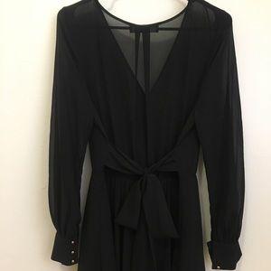 Sheer cross too long sleeve maxi dress